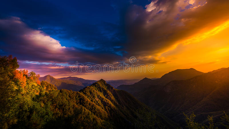 View from Generals Highway in Sequoia National Park near Amphith. View from Generals Highway Sequoia National Park at Sunset stock images
