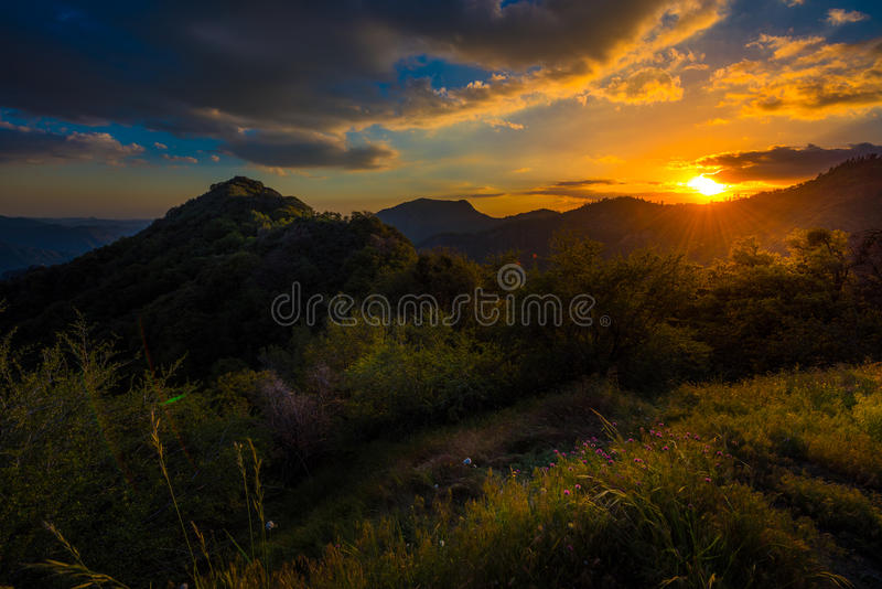 View from Generals Highway in Sequoia National Park near Amphith. View from Generals Highway Sequoia National Park at Sunset royalty free stock photography
