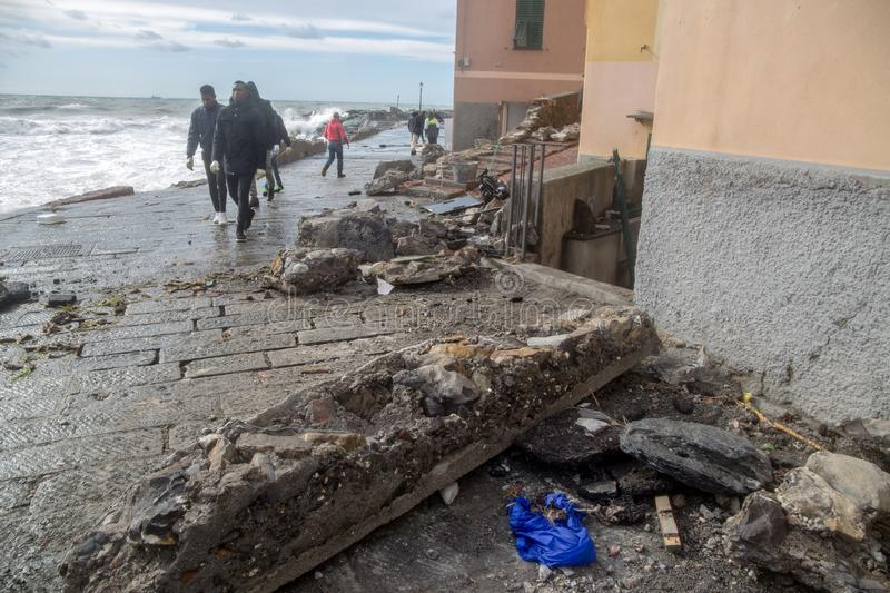 View of Genoa Boccadasse beach devasted after the storm of the night before, Italy. View of Genoa Boccadasse beach devasted after the storm of the night before royalty free stock images