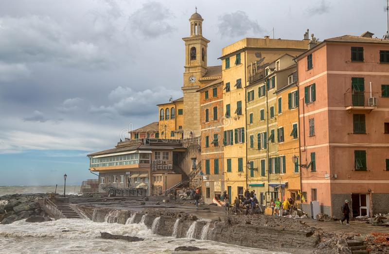 View of Genoa Boccadasse with rough sea during an autumnal day, Italy. View of Genoa Boccadasse with rough sea during an autumnal day, Italy royalty free stock photos