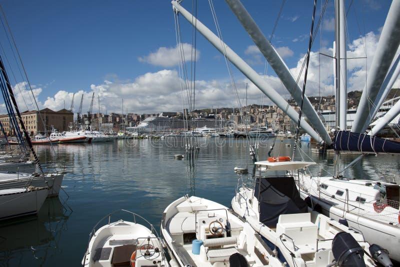 Genoa harbor stock photos