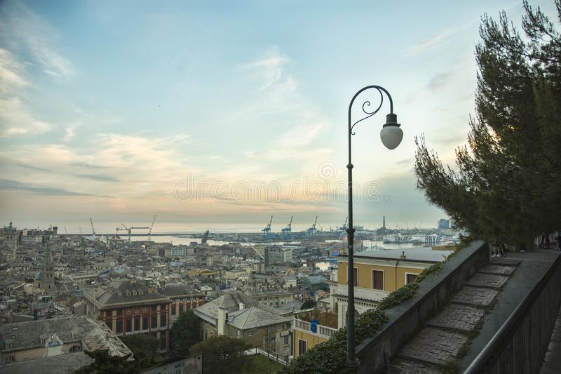 View of the Genova. Genoa is the capital of the Italian region of Liguria and the sixth-largest city in Italy. Located on the Gulf of Genoa in the Ligurian Sea stock image