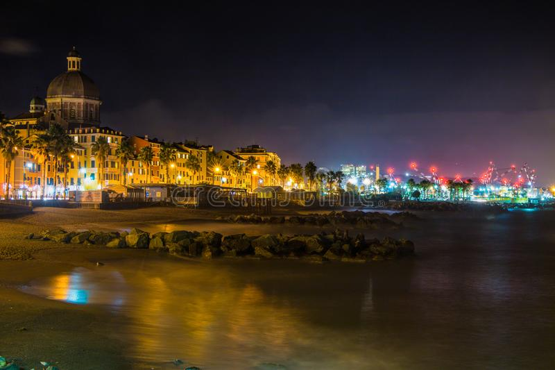 View of Genova Pegli by night, Italy stock images