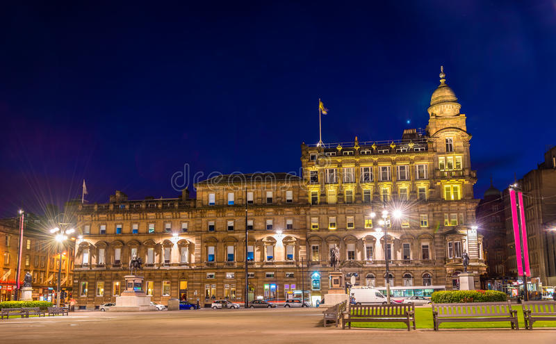 View of George Square in Glasgow at night. Scotland royalty free stock images