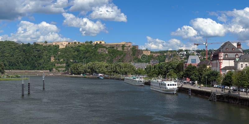 View on German Corner and Ehrenbreitstein Fortress in Koblenz royalty free stock photos