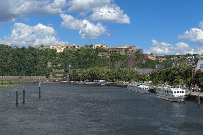 View on German Corner and Ehrenbreitstein Fortress in Koblenz royalty free stock photo
