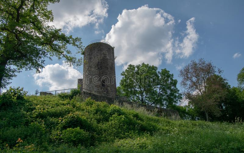 View from the german ruin Kugelsburg. In the region of Waldeck-Frankenberg stock images