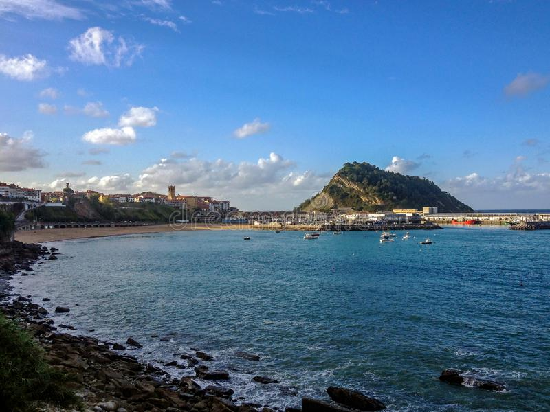 View on Getaria from the scenic coastal road, along the coastal Camino de Santiago, Northern Saint James Way. Camino del Norte route, the Basque Country stock image
