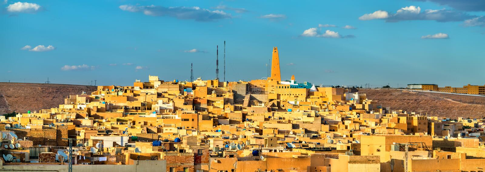 View of Ghardaia, a city in the Mzab Valley. UNESCO world heritage in Algeria royalty free stock photography