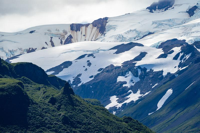 View of a giant glacier in Katmai National Park in Alaska in a sunny day. Beautiful wilderness scenery royalty free stock photos