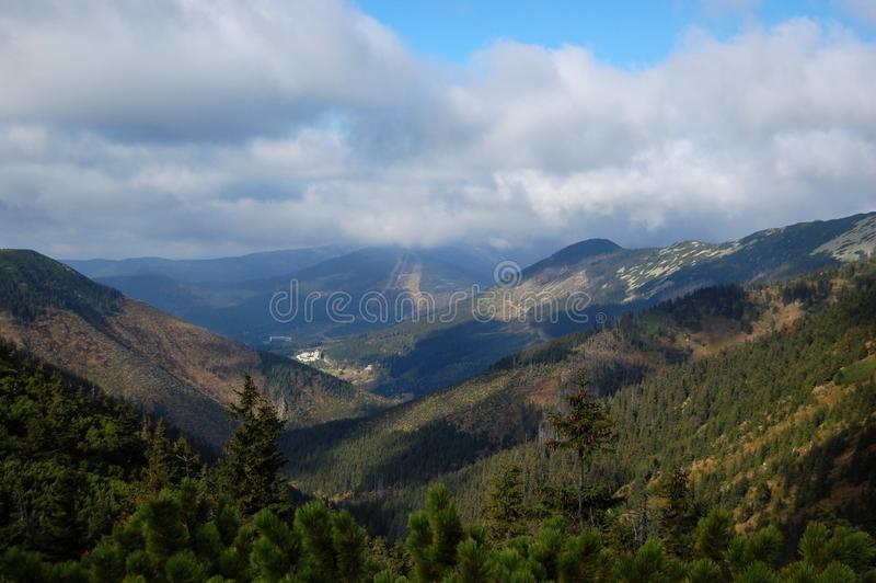 View of Giant Mountains. The Giant Mountains (Krkonose Mountains) are the most well known mountains in the Czech republic – mountain Snezka is the highest stock images