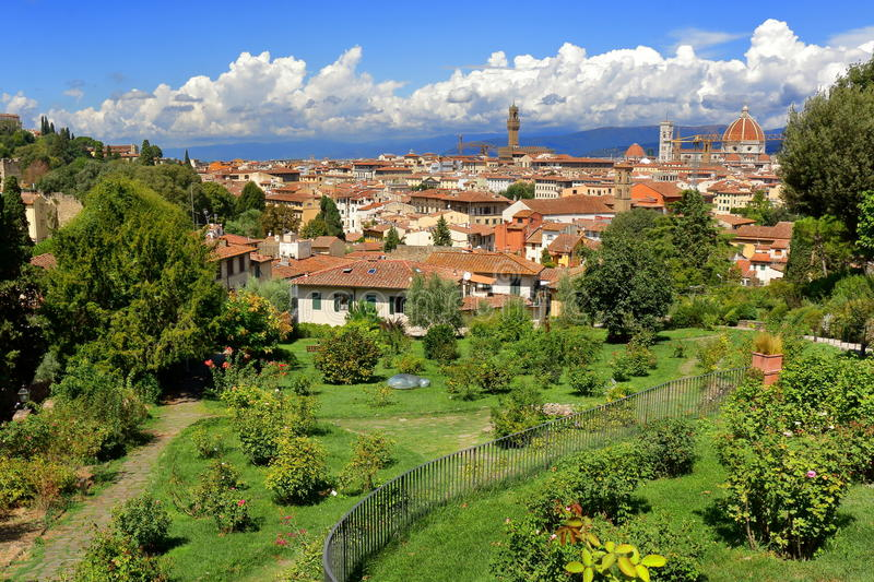 View from Giardino delle Rose in Florence, Italy stock image