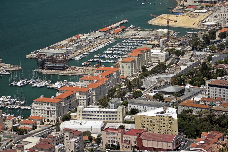 View on gibraltar town and harbour royalty free stock photos