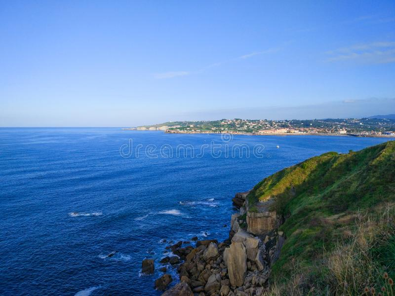 View of Gijon and Cantabrian Sea from Cerro de Santa Catalina, in Asturias, Spain.  royalty free stock photos