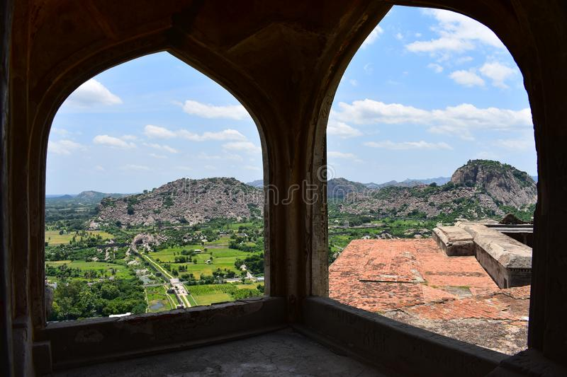 View of Gingee Fort. Gingee Fort or Senji Fort in Tamil Nadu, India is one of the surviving forts in Tamil Nadu, India. It lies in Villupuram District, 160