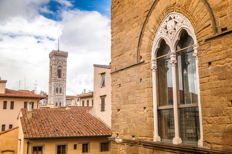 View of Giotto`s Campanile in the city of Florence, Italy royalty free stock image