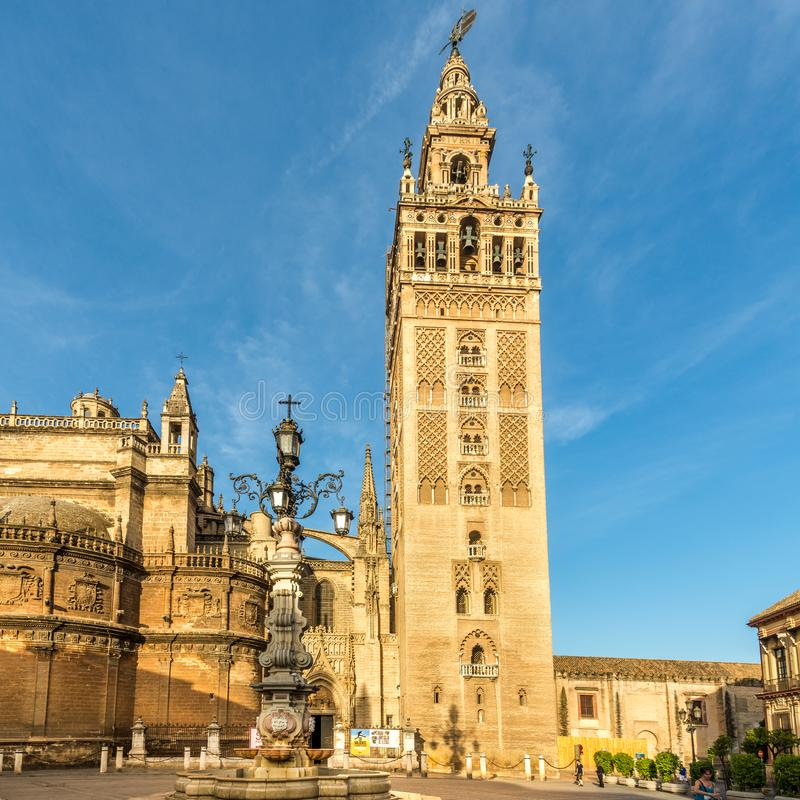 View at the Giralda tower of Sevilla cathedral in Spain royalty free stock photos