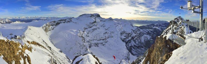 View from Glacier 3000 bridge, Les Diablerets, Gstaad. Bridge and panoramic view from Glacier 3000 Les Diablerets,Gstaad. Swiss-Schweiz stock image