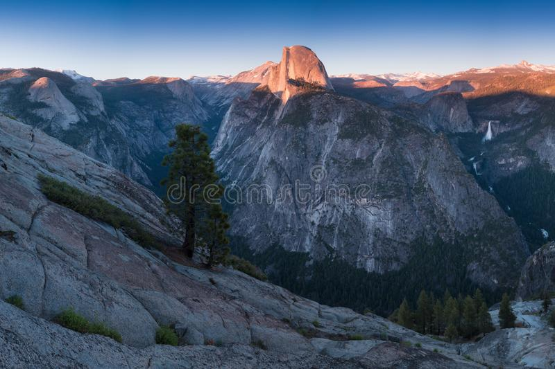 View from Glacier Point, which is the most spectacular viewpoint in Yosemite National Park, California, USA Half Dome stock photo