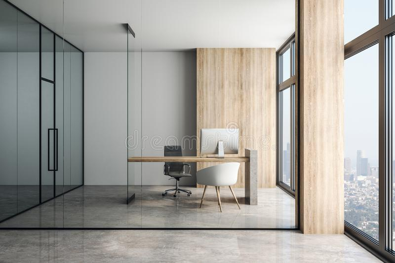 View through glass wall on modern loft style office and city view. Front view through glass wall on modern office with wooden wall, table, concrete floor and stock illustration