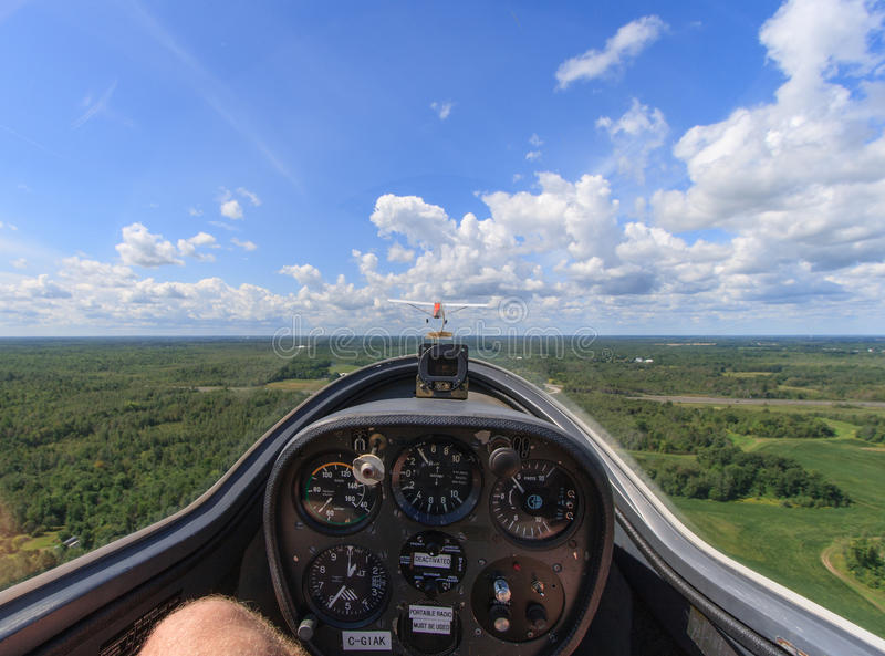 View from Glider. MANOTICK, CANADA – AUGUST 19: The view from the front seat of a glider from Rideau Valley Soaring on August 19, 2012 above Manotick royalty free stock image