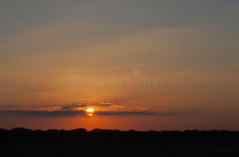 GLOWING SUN GOING DOWN IN AN AFRICAN LANDSCAPE. View of a glorious red sunset with gilt lined clouds in the sky over the African bush stock photos