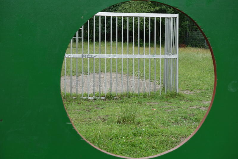 View through a goal wall stock photography