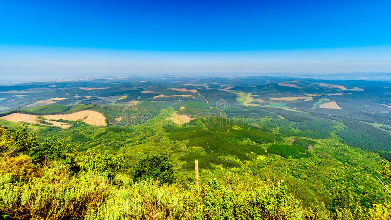View from God`s Window over the lowveld along the Panorama Route in Mpumalanga Province stock photography