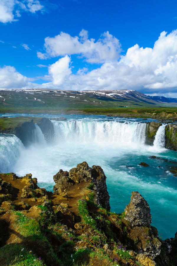 View of the Godafoss waterfall stock photo