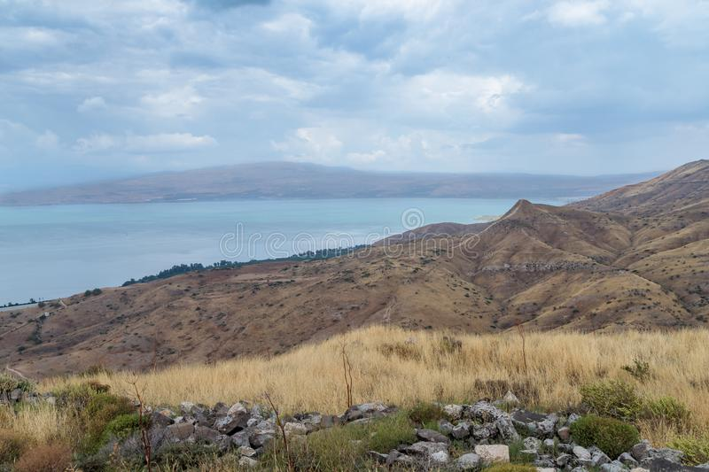 View from the Golan Heights to the Sea of Galilee - Kineret, Israel royalty free stock photography