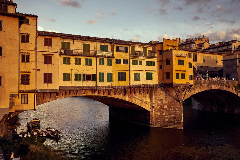 View of Gold Ponte Vecchio Bridge in Florence Arno river stock images