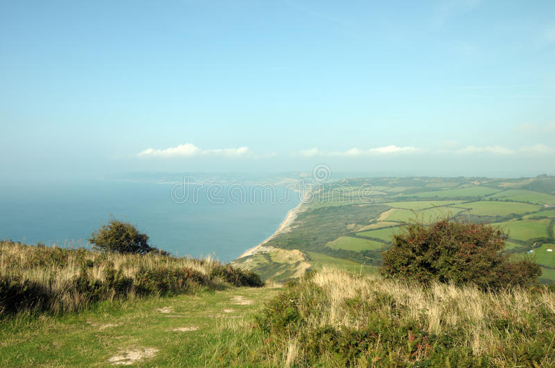 View from Golden Cap. On Dorset coastal path royalty free stock photo