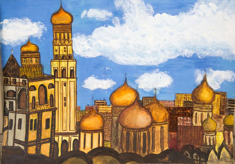 View of the Golden domes of the bell tower of the Moscow Kremlin. stock illustration