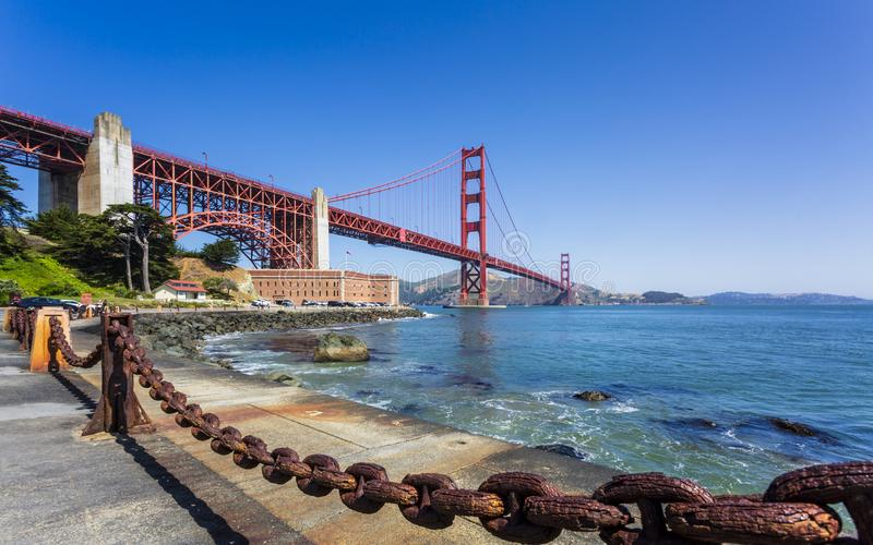 View of Golden Gate Bridge and Fort Point from Marine Drive, San Francisco, California, USA, North America royalty free stock images