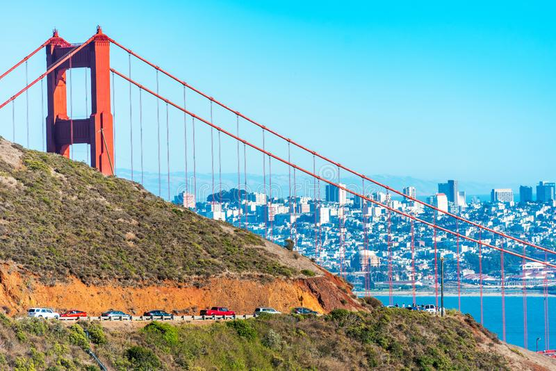 View of The Golden Gate Bridge in San Francisco, USA.  royalty free stock photography