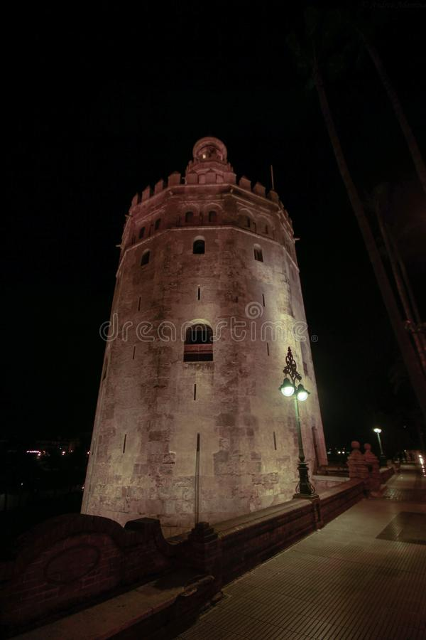 View of Golden Tower Torre del Oro of Seville, Andalusia, Spain over river Guadalquivir stock photography