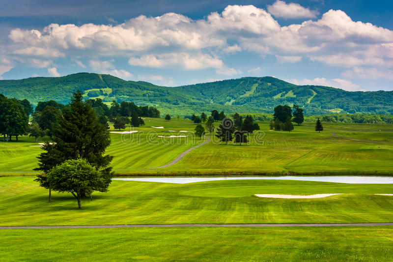 View of a golf course and distant mountains at Canaan Valley Sta royalty free stock photos