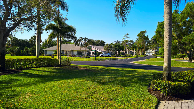 View of the golf resort with family houses in Naples, Florida, USA royalty free stock photo