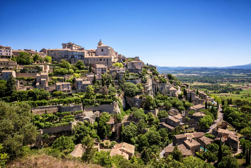 View on Gordes, a small typical town in Provence, France. Beautiful village, with view on roof and landscape royalty free stock photography