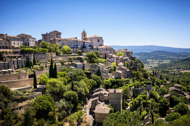 View on Gordes, a small typical town in Provence, France. Beautiful village, with view on roof and landscape royalty free stock photos