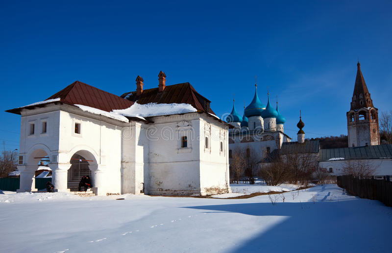 View of Gorokhovets in winter. Russia. House of Oparin and Cathedral of the Annunciation (build in 1700) at Gorokhovets in winter. Russia royalty free stock photography