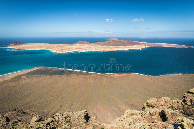 View of Graciosa Island from Mirador del Rio, Lanzarote Island, royalty free stock photo