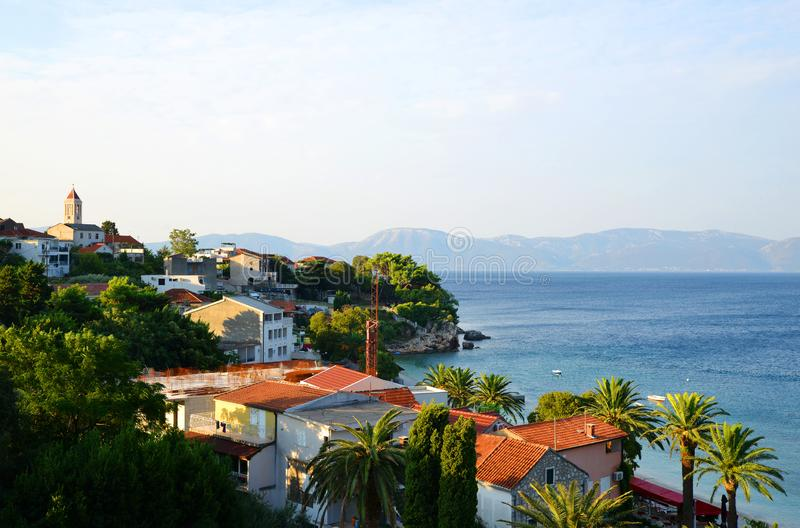 View of Gradac town located on the coast of Adriatic sea,Croatia, Europe. View of Gradac town located on the coast of Adriatic sea, Makarska riviera in southern royalty free stock photos