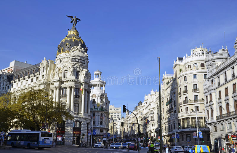 A view of Gran Via, in Madrid stock photography