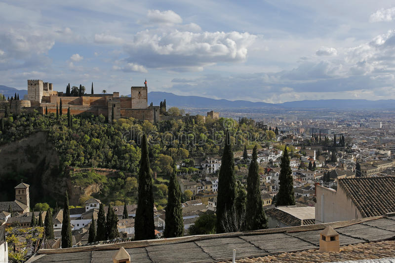View of Granada with Alhambra from Mirador de San Nicolas, Spain royalty free stock image