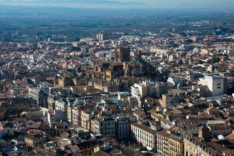 View of Granada city from the Alhambra royalty free stock photography