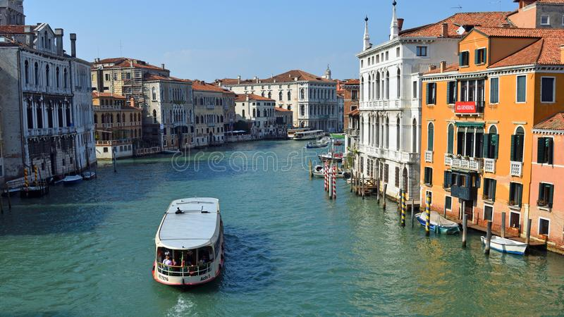 View of the Grand Canal from the Accademia Bridge with Vaporetto Venice. stock images