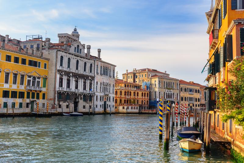 View of Grand Canal from Bridge Ponte dell`Accademia. Venice. Italy stock image
