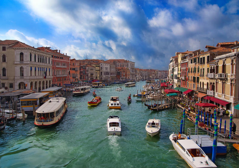 View of the Grand Canal from the Rialto Bridge. Venice stock photo