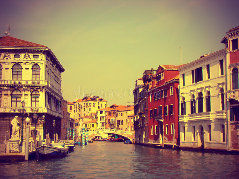 View from Grand Canal in Venice, vintage toned royalty free stock photography